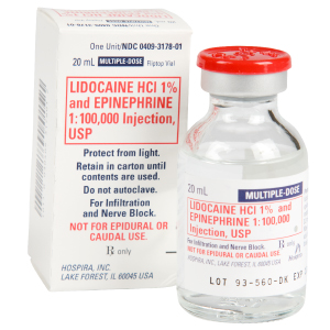 Lidocaine HCI 1% and Epinephrine 1:100,000 Injection USP 20mL Vial