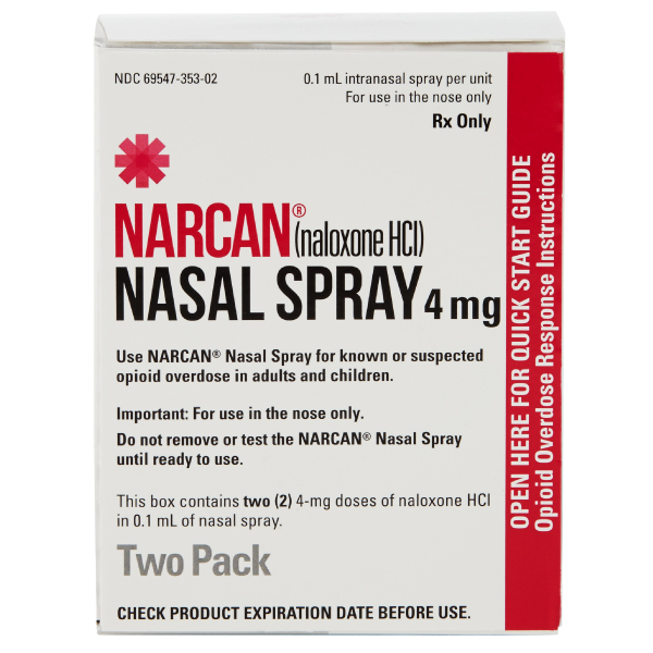 Narcan Naloxone HCl Nasal Spray 4mg/.1mL 2-Pack