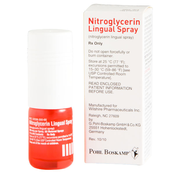 Nitroglycerin Lingual Spray 400mcg Per Spray 60 Metered Sprays