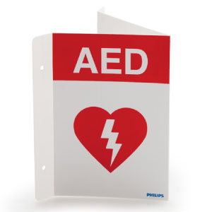 AED, Triangular Wall Sign Red