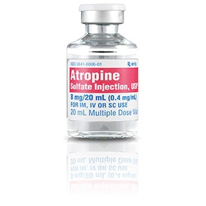 Atropine Sulfate Injection, USP 8mg/20mL (0.4mg/mL) 20mL vial