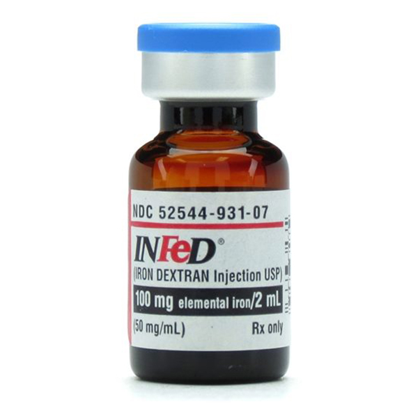 Infed(R) (Iron Dextran Injection, USP) 100mg Elemental Iron/2mL (50mg/mL) 2mL Vial