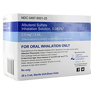 Albuterol Sulfate Inhalation Solution 0.083% 2.5mg/3mL 5X3mL Unit-Dose Vials